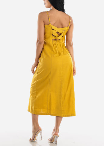 Button Up Mustard Cotton Maxi Dress