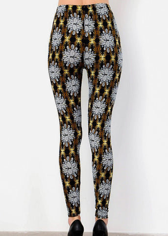 Black Printed Leggins