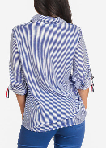 Image of Women's Junior Ladies Dressy Blue And White Stripe 3/4 Sleeve Button Up Shirt