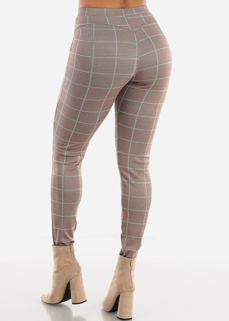 Shinny Butt Lifting Mocha Plaid Skinny Pants