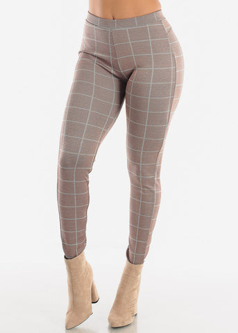 Image of Shinny Butt Lifting Mocha Plaid Skinny Pants
