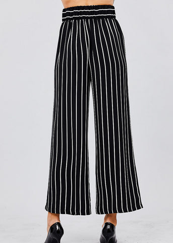 Image of Stripe Woven Black Pants