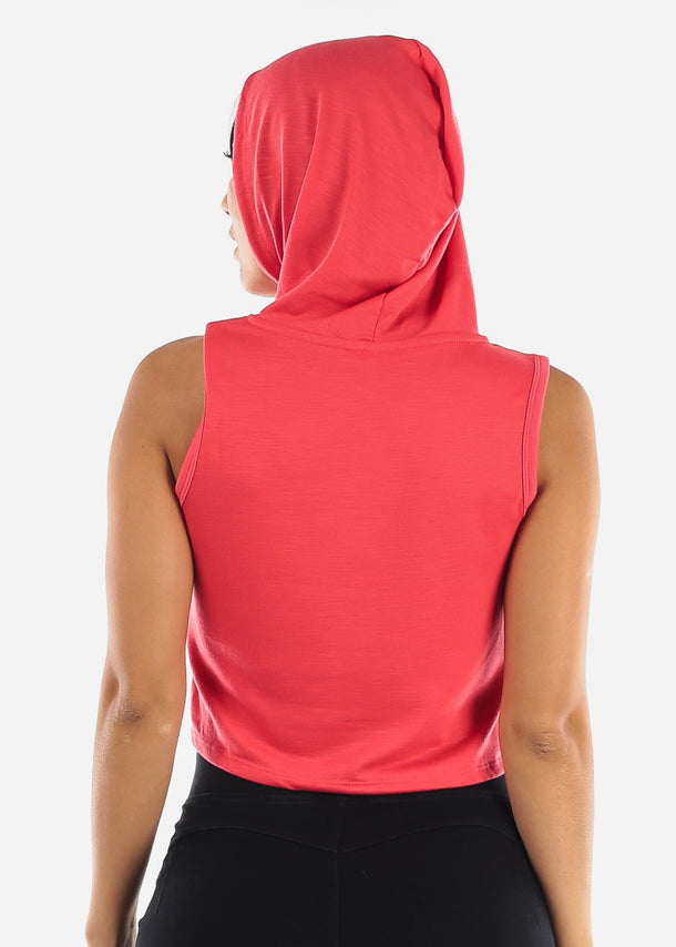 Sleeveless Coral Cropped Hoodie