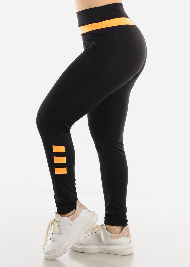 Black & Orange Activewear Leggings