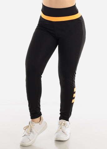 Image of Black & Orange Activewear Leggings
