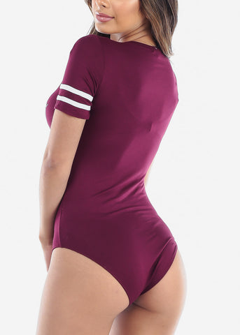 """It's All Good Baby"" Burgundy Bodysuit"