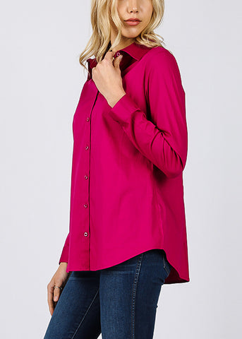 Missy Fit Button Up Magenta Shirt