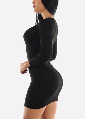 Ribbed Black Bodycon Sweater Dress
