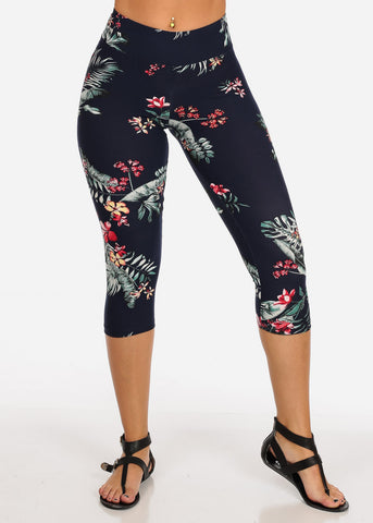 Women's Junior Ladies Cute Comfortable Trendy Pull On High Rise Floral Print Navy Capri Leggings