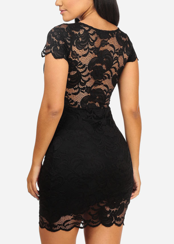 Sexy Floral Lace Black Dress