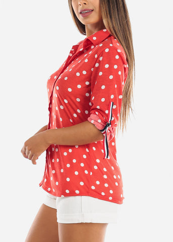 Image of Women's Junior Ladies Dressy Red Polka Dot 3/4 Sleeve Button Up Shirt