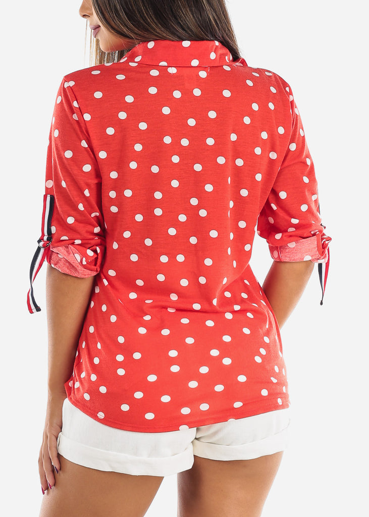 Women's Junior Ladies Dressy Red Polka Dot 3/4 Sleeve Button Up Shirt