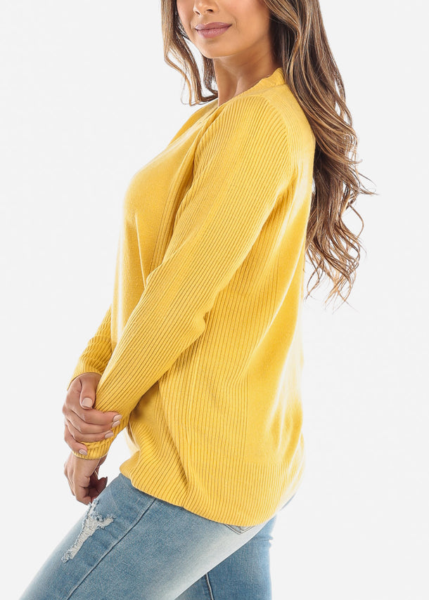 Yellow Ribbed Round Neck Sweater