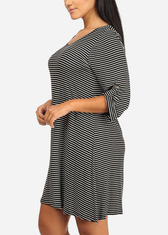 Image of Casual Roll-Up Black Stripe Dress