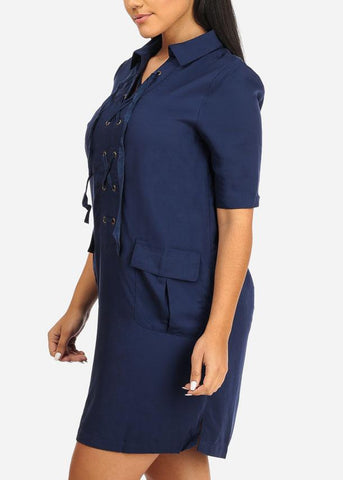 Image of Navy Laced Up Lightweight Dress