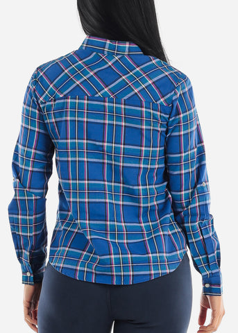 Snap Up Blue Plaid Shirt