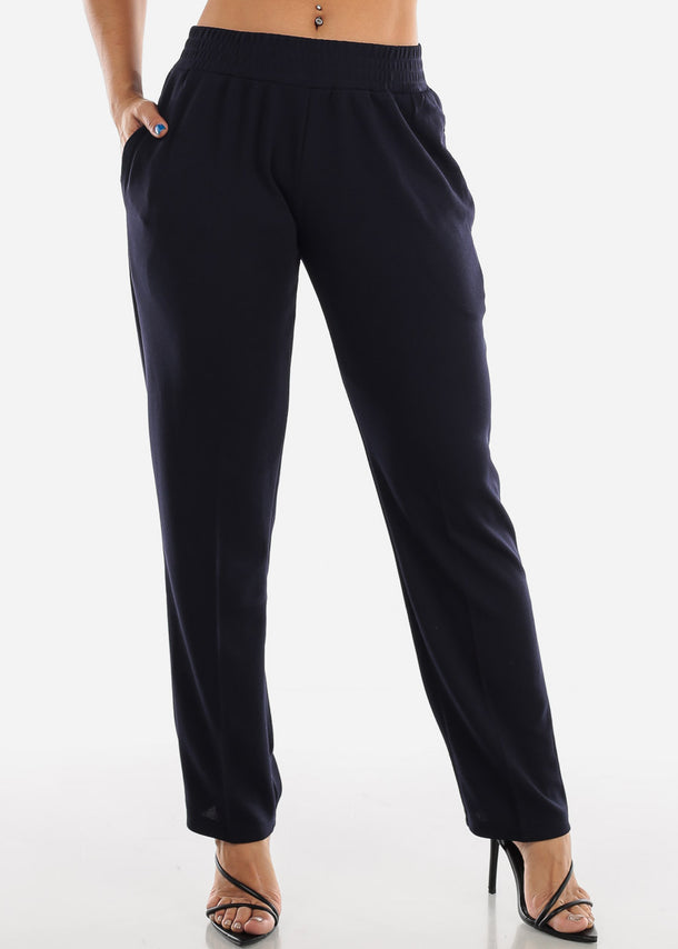 Navy Straight Leg Pants