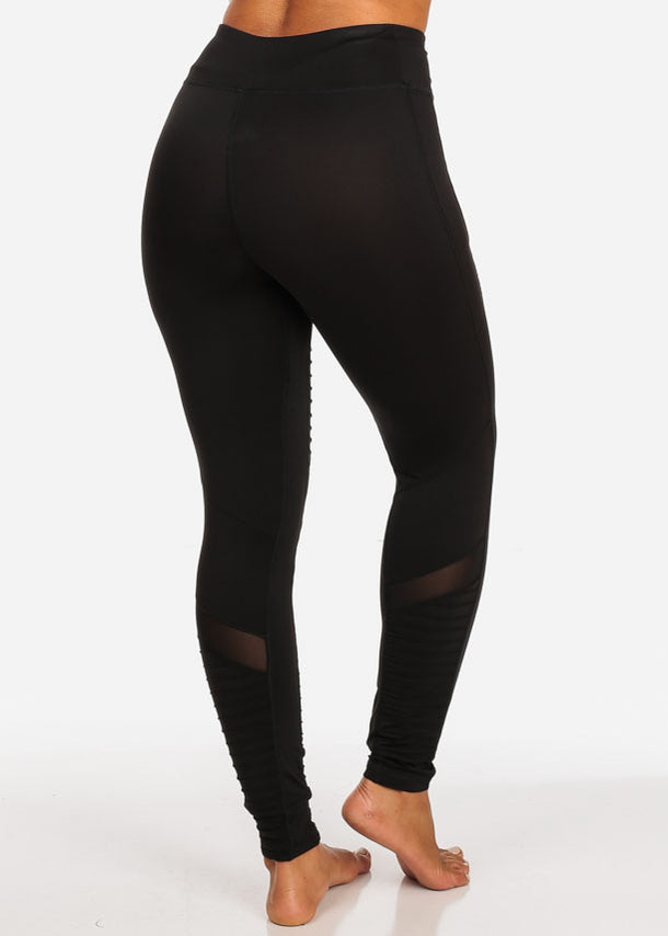 Activewear Black Moto Design Sheer Mesh  High Rise Leggings