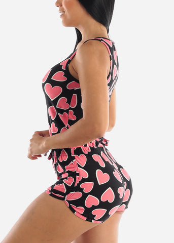 Black Hearts Sleep Romper
