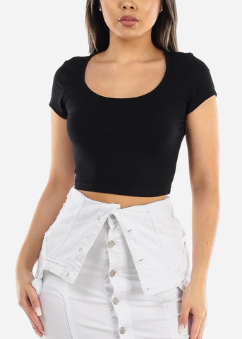 Short Sleeve Basic Black Crop Top