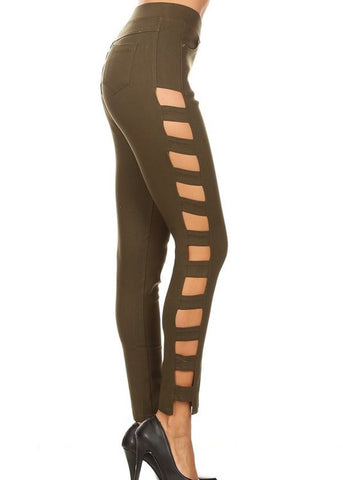 Olive Side Cutout Jeggings