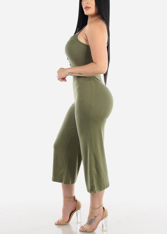 Wide Legged Olive Cropped Jumpsuit