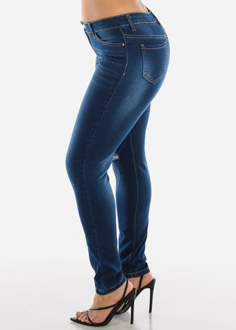 Image of Mid Rise Torn Dark Wash Skinny Jeans