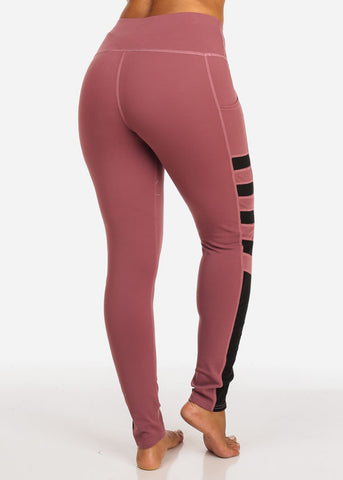 Activewear Side Mesh Sheer Detail High Rise Mauve Leggings
