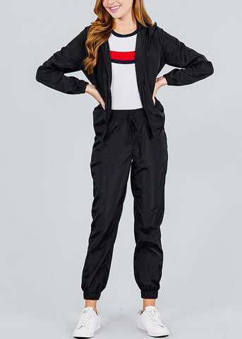 Image of Windbreaker Black Jogger Pants