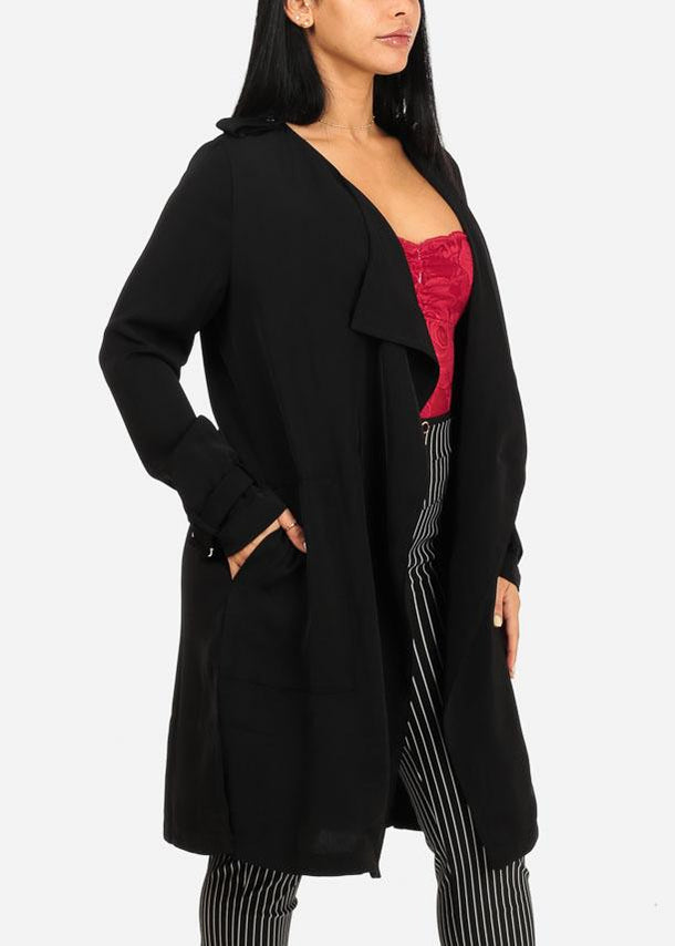 Black Side Slits Cardigan