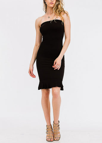 Black Tube Ruffle Hem Dress