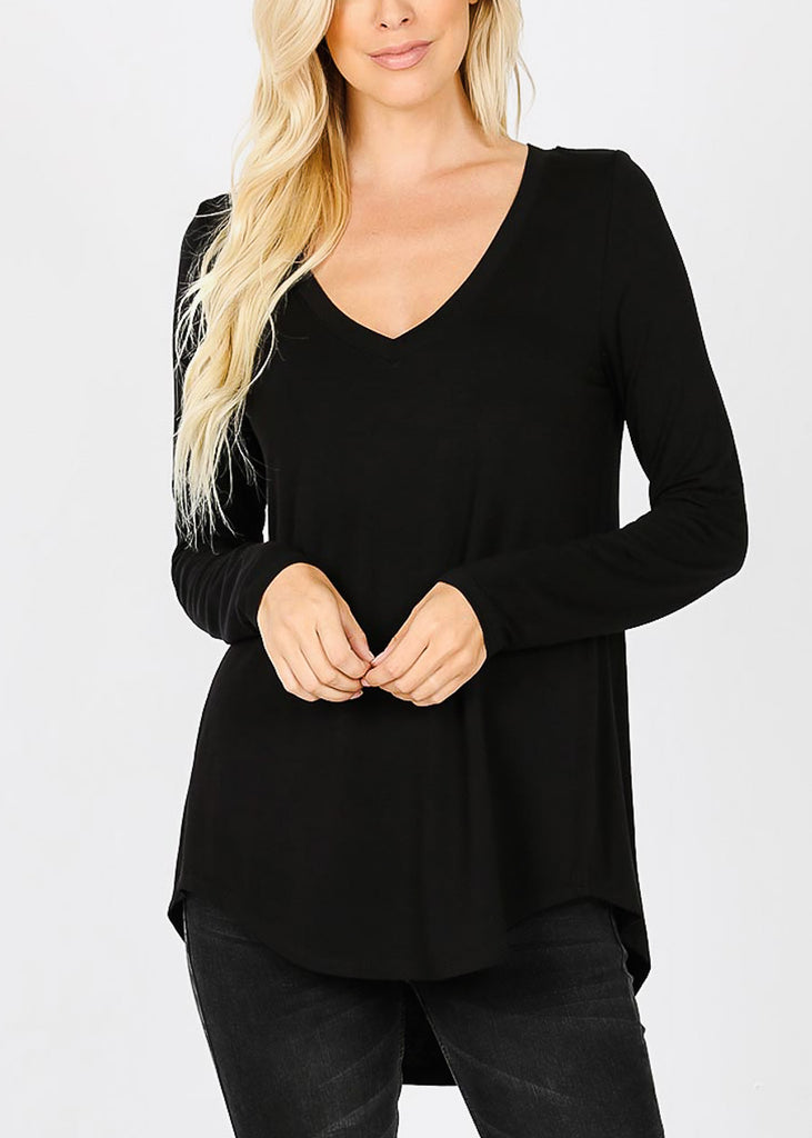 Black V-Neck Dolphin Hem Tunic Top