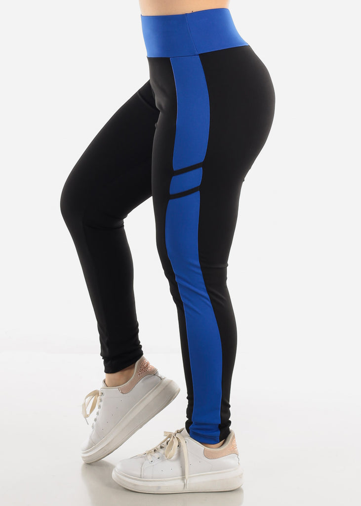 Black & Blue High Waist Leggings