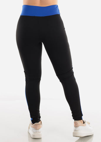 Image of Black & Blue High Waist Leggings