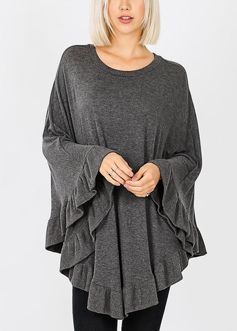 Image of Ruffle Hem Charcoal Poncho Sweater