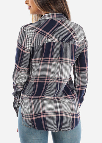 Image of Long Sleeve Multi Color Navy Plaid Print Flannel Shirts Button Up Shirt Top For Women Ladies Junior On Sale Office Business Career Wear