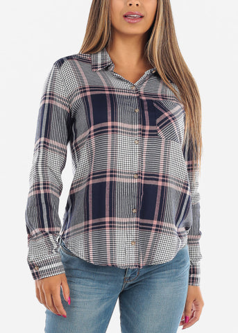 Long Sleeve Multi Color Navy Plaid Print Flannel Shirts Button Up Shirt Top For Women Ladies Junior On Sale Office Business Career Wear