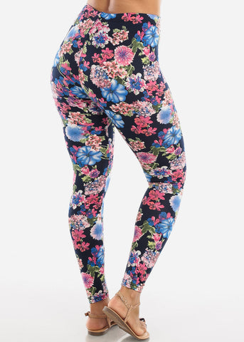 Colorful Floral Print Leggings L136BLUE