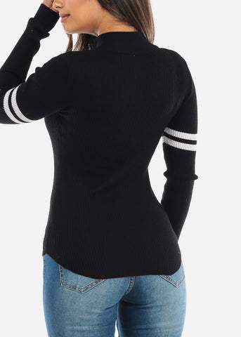 Image of Black Half Zip High Collar Sweater BFT11128BLK