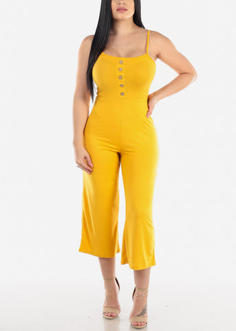 Image of Wide Legged  Mustard Cropped Jumpsuit