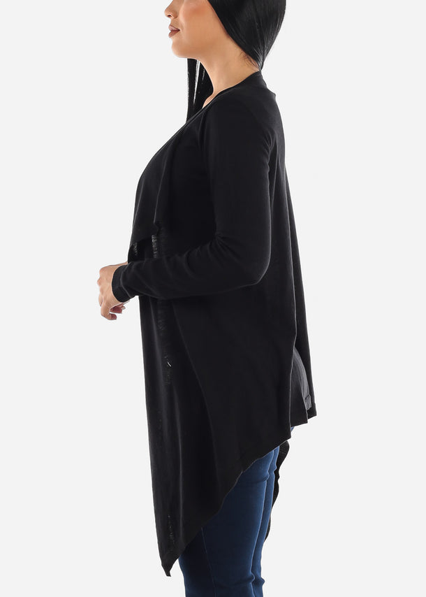 Draped Long Black Cardigan