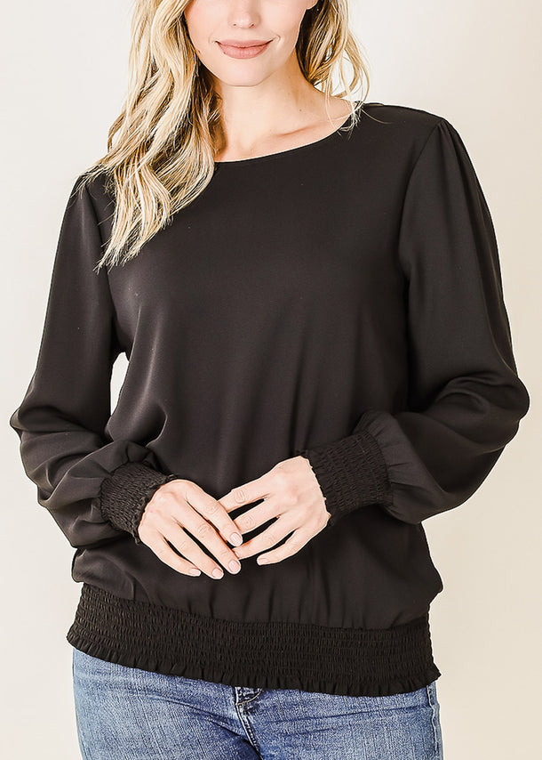 Puff Sleeve Smocked Hem Black Blouse