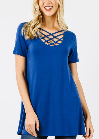 Royal Blue Triple Latice Tunic Top