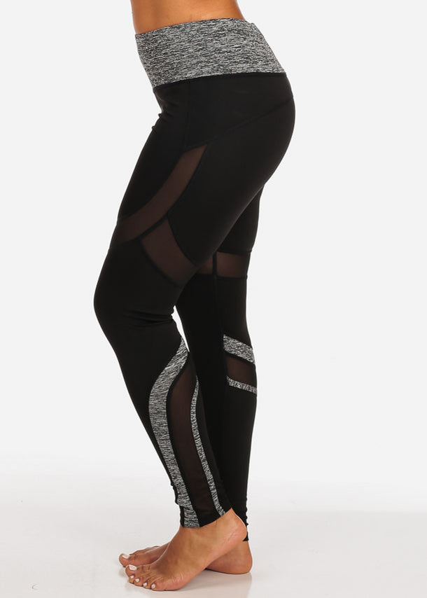 Activewear Grey And Black Sheer Mesh Detail High Rise Leggings