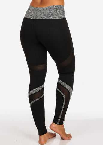 Image of Activewear Grey And Black Sheer Mesh Detail High Rise Leggings