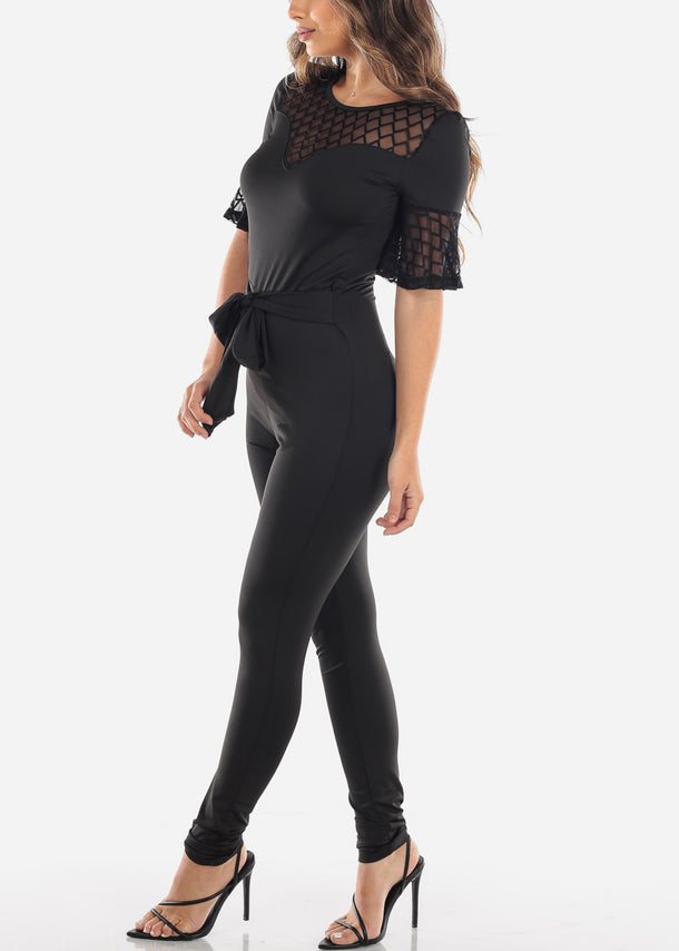 Black Mesh Detail Jumpsuit