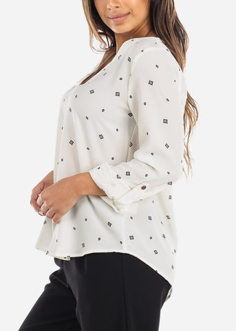 Image of V-Neckline White Blouse