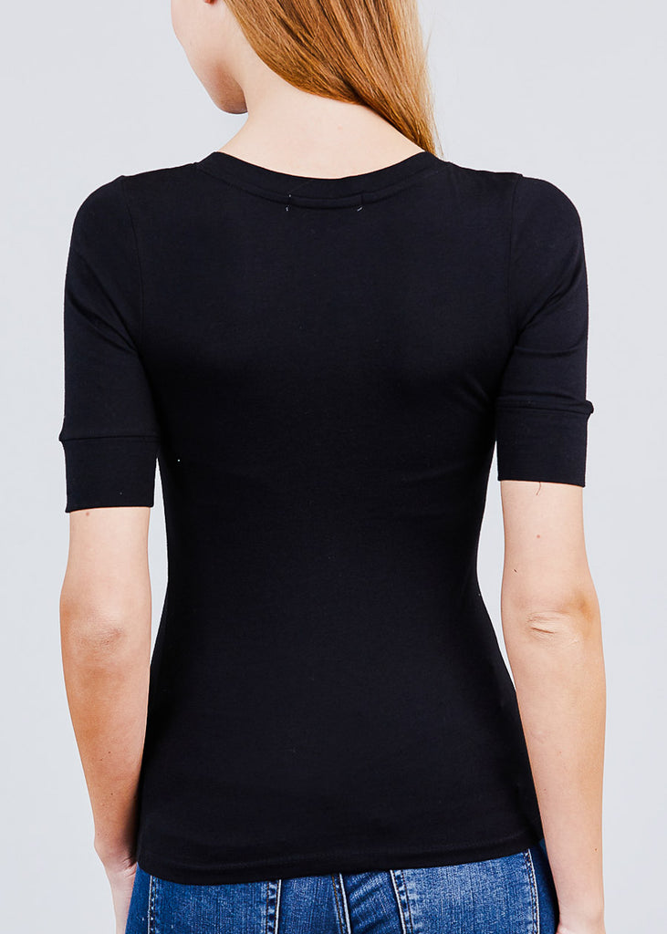 Black Elbow Sleeve V Neck Top