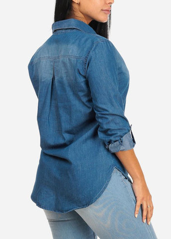 Image of Button Up Denim Blouse