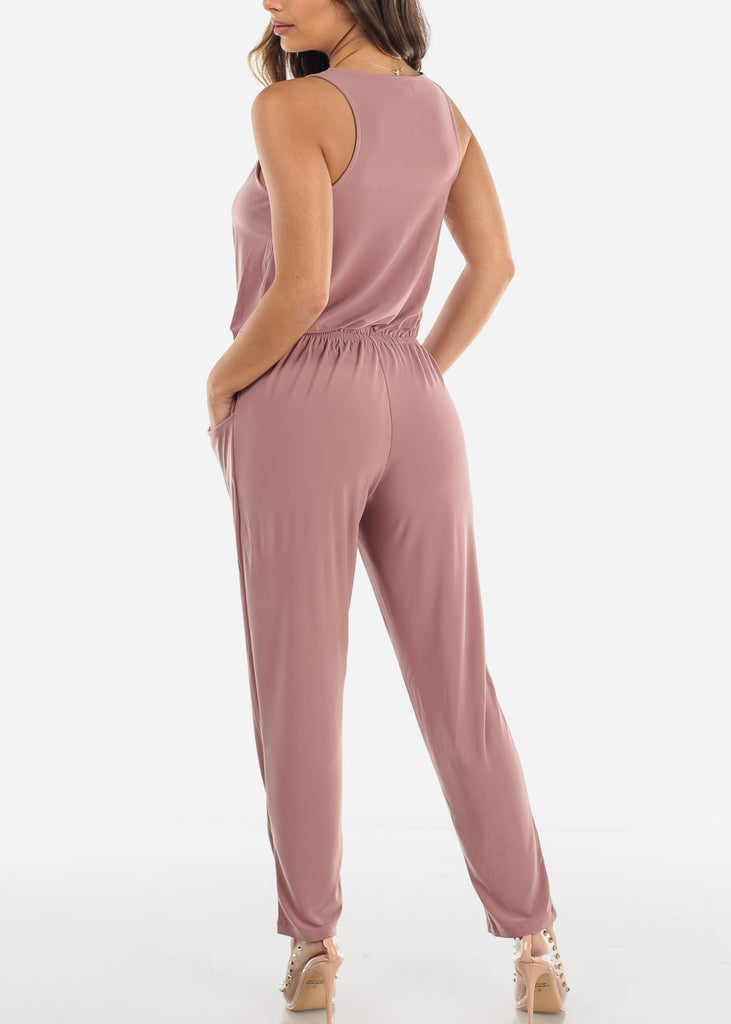 Zip Up Front Sleeveless Mauve Jumpsuit